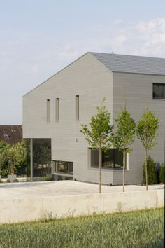 Individual house in Cadolzburg (Germany) by Dürschinger Architekten, Techniqus, Technique : VMZ Scales – VMZ Ecailles, pannels made locally, Aspect: QUARTZ-ZINC®  #Germany #Deutschland #QuartzZinc #QUARTZZINC #Architecture #Villa #Zinc #VMZINC #Façade #Roofing