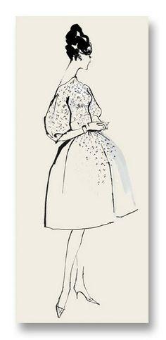 Jeanne Notecard vintage fashion illustration by my late mom, Hilda Glasgow $5
