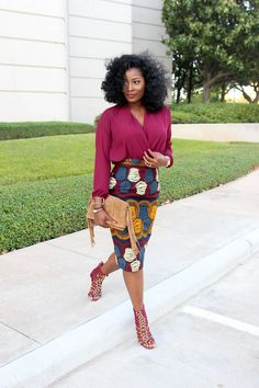 African outfits have crossed all fashion lines and black African girls killing it with their confidence and extraordinary look. African clothing fabrics are African Inspired Fashion, African Print Fashion, Fashion Prints, African Prints, Ankara Fashion, African Fashion Skirts, African Fabric, African Attire, African Wear