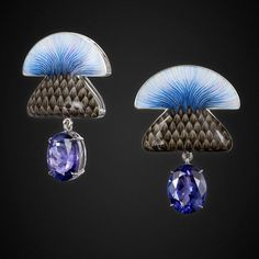 Blue Burdock earrings by ILgiz F. Inspired by frosty Russian spring.