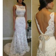 Love the from squared lace on top and the very low soft back laying lace very elegant n sweet  it's phenomenally delicate n sophisticated with a lovely sash bow #weddingdress