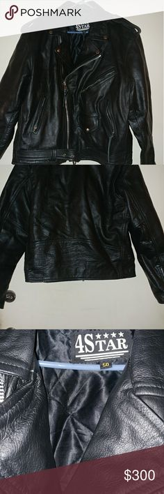 Echtes Leder 4 star Motorcycle Jacket Brand new leather motorcycle jacket worn once in excellent condition fits men size 50 or Can Be unisex echtes leader Jackets & Coats Utility Jackets