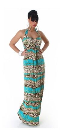 Turquoise long sundress with a leopard stripes