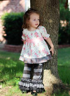 Ruffle Pants Black and Gray Knit Ruffle Pants by HappyLittleDress