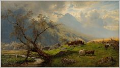 "art-and-things-of-beauty: ""Hjalmar Munsterhjelm - Shepherd in mountain landscape, oil on canvas, 37 x 65 cm. Landscape Drawings, Landscape Paintings, Prince, Winter Painting, Old Paintings, Mountain Landscape, Art Studies, Western Art, Learn To Paint"