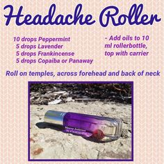 Here is one of my favourite roller bottle blends! We all get those headaches that seem to last forever, and with summer holidays and kids… Essential Oils For Migraines, Oils For Sinus, Essential Oils For Kids, Doterra Essential Oils, Young Living Essential Oils, Essential Oil Blends, Roller Bottle Recipes, Oil For Headache, Natural