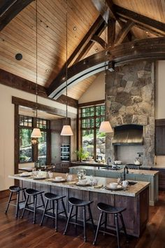 Gorgeous rustic mountain retreat with stylish interiors in Martis Camp Craftsman Kitchen, Rustic Kitchen, Craftsman Interior, Ranch Kitchen, Country Kitchen, Kitchen Island With Seating, Kitchen Islands, Timber House, Rustic Theme