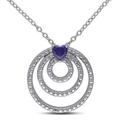 Miadora Sterling Silver Heart-cut Created Sapphire Circle Necklace, Women's