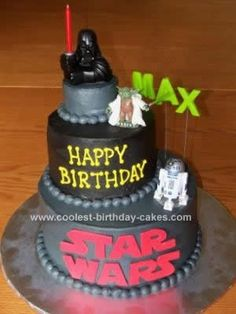 Homemade Lego Star Wars Cake Design: Ahead of time I made the child's name and Star Wars logo from rolled fondant and let them air dry to put on this Lego Star Wars Cake Design.  I baked three