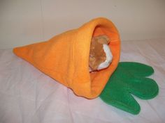 Large Orange Fleece Carrot Guinea Pig Pouch Bag Cozy Bed Snuggle Rabbit Ferret #GuineaPigParadise