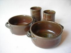 Stoneware Soup Bowls with Matching Tumblers von DragonPottery
