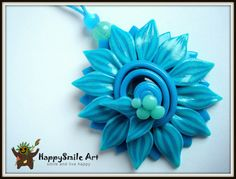 ON SALE Polymer Clay Jewelry Turquoise Blue by HappySmileArt