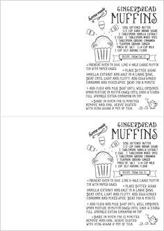 Free Printable  Hand Drawn Illustrated Christmas Recipe Greeting