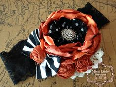 Autumn Blooming -Couture Rosette Flower Headband -Baby flower headband- Newborn headband- Infant headband- Toddler headband-Dupioni on Etsy, $16.95