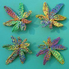 crochet pot leaf pattern free | Rainbow Marijuana Leaf Hair Clip by MerriJayne | Crocheting Ideas