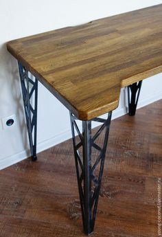 """Купить Рабочий стол """"Construction.Desk"""" - разноцветный, индустриальный стиль, дуб, сталь, стол"""