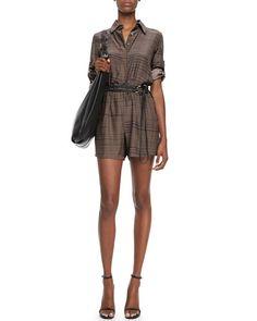 Halston Heritage Long-Sleeve Silk Jumpsuit