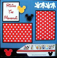 Riding The Monorail Disney Two 12x12 Premade Scrapbook Pages | eBay