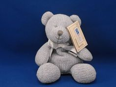 New product 'Soft Dreams McBaby Small Blue Sweater Knit Bear' added to Dirty Butter Plush Animal Shoppe! - $8.00 - Soft Dreams McBaby Plush 7 inch Seated Blue Sweater Knit Bear - Gray Embroidered Face - White Satin Bow - Beanie Tush (W…