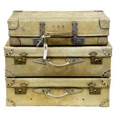 OnlineGalleries.com - Set Of 3 Pig Skin Vintage Suitcases Original Handles