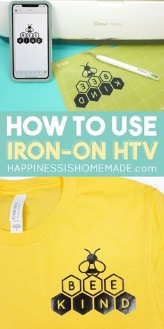 Learn How to Use Iron-On Vinyl (aka Heat Transfer Vinyl) to make cute DIY shirts and more! Beginners tips and tricks for how to use heat transfer vinyl and Cricut Iron-on vinyl! Cricut Heat Transfer Vinyl, Cricut Iron On Vinyl, Cricut Htv, Homemade Putty, How To Make Iron, How To Use Cricut, Mod Melts, Make Your Own Shirt, Iron On Fabric