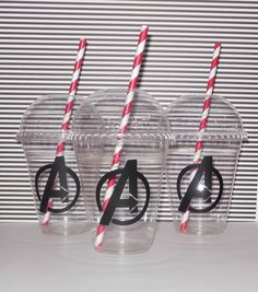 10 Avengers Party Cups With Stripe Straws by BeesandQuotes on Etsy https://www.etsy.com/listing/235382275/10-avengers-party-cups-with-stripe