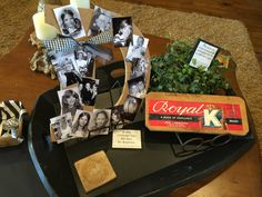 50th birthday party decor on coffee table