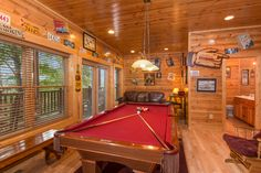 Exceptional Game/Media Room, Photo taken May, 2016   Pat Kirchhoefer, owner of the cabins Escape to Times Past   #mybearfootcabins #pigeonforge #cabinlife #gatlinburg #sevierville #vacay #vacation #mountains 