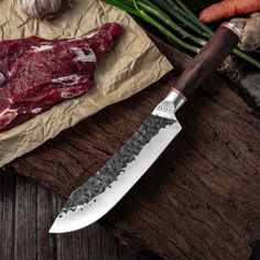 7.6inch Handmade Forged Kitchen Knife Butcher Meat Chopping Cleaver Chinese Chef Knife 5CR15 Stainless Steel Forging Knives, Forged Knife, Forged Steel, Damascus Steel, Best Kitchen Knives, Butcher Knife, Handmade Knives, High Carbon Steel, Chef Knife