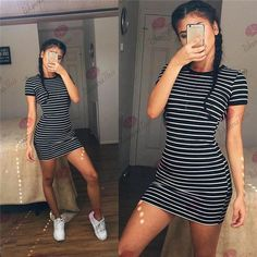 Black and White Striped Short-Sleeve O-Neck Long Section T-shirt Dress Pack Hip High Elasticity