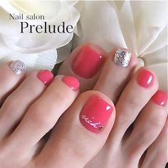 On for the big day toe nail color, coral toe nails, pink toes, silver n Pedicure Colors, Pedicure Designs, Pedicure Nail Art, Toe Nail Designs, Toe Nail Art, Nail Colors, Art Designs, Glitter Pedicure, Fancy Nails