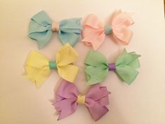Pastel spring time baby hair bows. https://www.etsy.com/listing/225378132/set-of-2-matching-easter-egg-baby?ref=shop_home_active_6