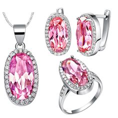 Hot sale yiwu jewelry anniversary jewelry set silver color  oval pink zircon CZ Crystal for women gift