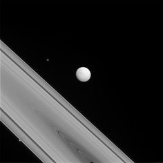 The Odd Trio (NASA Cassini Saturn Mission Images) - Featured: the shepherd moon Prometheus; crater and canyon-covered Tethys; the planet Saturn; the F ring;