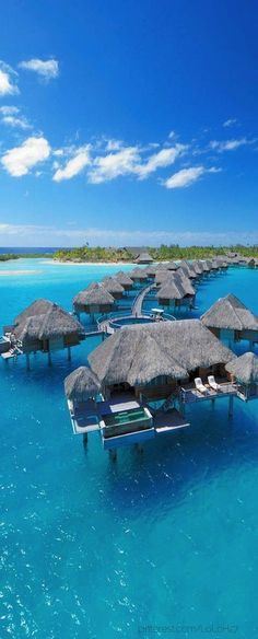Four Seasons Resort, Bora Bora.I've always wanted to go to Bora Bora. It just sounds so cool - Bora Bora Vacation Places, Vacation Destinations, Dream Vacations, Vacation Spots, Vacation Ideas, Holiday Destinations, Vacation Resorts, Vacation List, Tropical Vacations