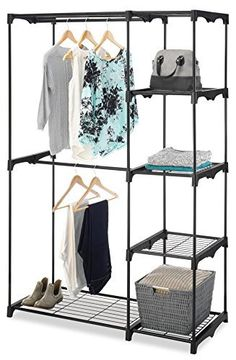 Freestanding Portable Closet Organizer U2013 Heavy Duty Black Steel Frame   Double  Rod Wardrobe Cloths Storage