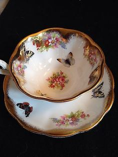 Royal Albert Butterfly Gold Handle Tea Cup Amd Saucer Bone China