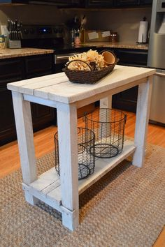 Rustic Reclaimed Wood Kitchen Island Table. Hang pots from under table top for kitchen!