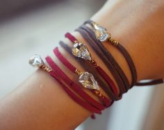 DIY leather bracelet with bling! What's not to love