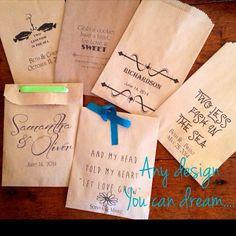 Design your own wedding favor bags, use for cookie bags, birdseed, rice, candy buffet. It go friendly, recyclable, green event favor on Etsy, $65.00