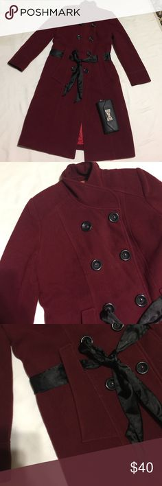 """Red wine long peacoat Good condition lined.  Dark red color. Length: 42"""" Bust : 19"""" Material:  60% wool 25% polyester  15% rayon . The belt is no included. I purchased this from Turkey wore couple times and now it doesn't fit. emotion Jackets & Coats Pea Coats"""