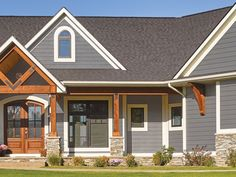grey exterior house colors 40 Ideas For Exterior Paint Colours For House Gray Stone Vinyl Siding Grey Siding House, Exterior House Siding, Stone Exterior Houses, House Trim, Gray Siding, Vinyl House Siding, Best Siding For House, Vinyl Shake Siding, Stone Veneer Exterior