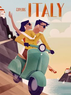 Retro Vintage Travel Poster – Italy by scooter