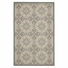 """Stylishly anchor your living room seating group or patio ensemble with this Turkish-made indoor/outdoor rug, showcasing a floral-inspired tile motif.   Product: RugConstruction Material: PolypropyleneColor: Light gray and anthraciteFeatures: Floral motifMade in TurkeySuitable for indoor or outdoor usePile Height: 0.25""""Note: Please be aware that actual colors may vary from those shown on your screen. Accent rugs may also not show the entire pattern that the corresponding area rugs ..."""