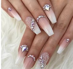 50 Best Ombre Nails ARt Designs ideas and images for 2019 Part 9 Nails diamond nails Diamond Nail Designs, Long Nail Designs, Ombre Nail Designs, Diamond Nails, Beautiful Nail Designs, Acrylic Nail Designs, Nail Art Designs, Nails Design With Diamonds, Nail Crystal Designs