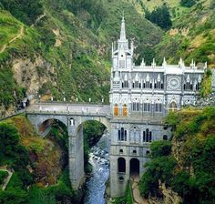 Las Lajas Cathedral Sanctuary, located ear the border of Colombia and Ecuador.