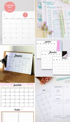 Internet Love: Planners 2017 para download gratuito - em português! 2017 Planner, Home Planner, Planner Book, Weekly Planner, Bullet Journal Lists, Bullet Journal Printables, Planner Supplies, Paper Organization, Day Planners
