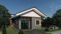 House plans Ideas with 3 bedrooms - Sam House Plans Three Story House, One Story Homes, Narrow House, Gable Roof, Hip Roof, Bedroom House Plans, Home Design Plans, Small House Plans, Shed