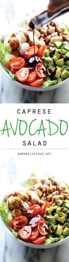 I love Caprese. Seriously want to try this recipe very soon. Caprese Avocado Salad - A light, refreshing salad loaded with mozzarella, tomatoes, basil and avocado with a sweet balsamic reduction! Healthy Snacks, Healthy Eating, Healthy Recipes, Comidas Lights, Summer Salads, Soup And Salad, Salad Bar, I Love Food, Salad Recipes