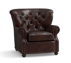 Lansing Leather Armchair, Polyester Wrapped Cushions, Legacy Tobacco